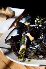 Bertha's mussels with fresh basil and garlic butter