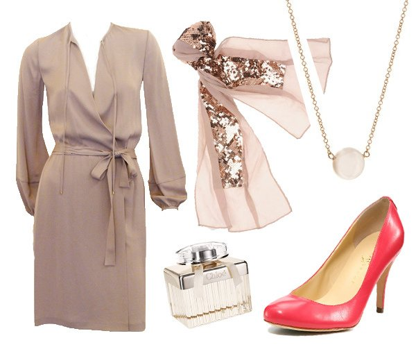 blush wrap dress outfit