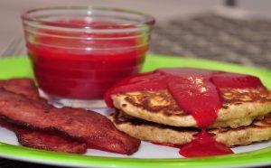 Healthy Breakfast Recipe: Whole-Grain Oatmeal Pancakes With Raspberry Sauce