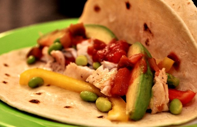 Recipe: Fresh Fish Tacos With Edamame and Peppers