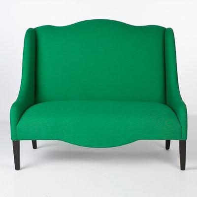 Emerald Linen Settee