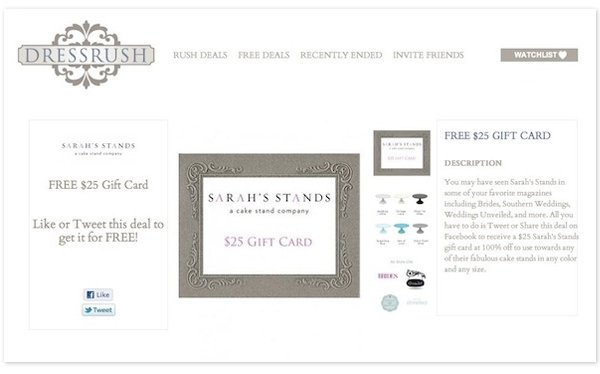 Get a Free  Gift Card for Sarah's Stands