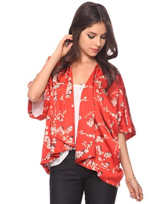 Do a double salute to the heritage of the blooms with this kimono-style coverup.