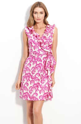 A different sort of Asian-inspired flower adorns this pretty wrap dress.