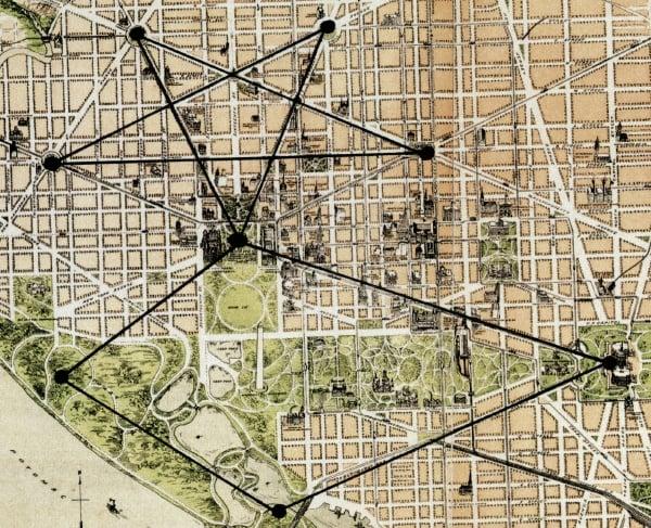 The Lost Symbol: Dan Brown's Pentagram City | Washingtonian (DC) Masonic Map Of Dc on map of dc city, map of dc mason, map of dc comics,