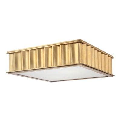 Aged brass two-light flush mount