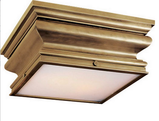 Square flush mount in antique burnished brass