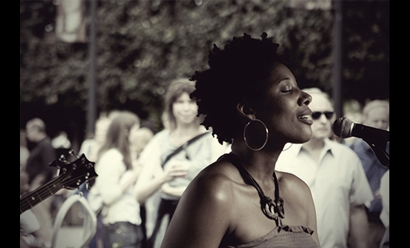 """Daysahead"" is from the National Gallery of Art's summer jazz series.  The photographer says the July 10 concert was the first he'd ever attended at the sculpture garden.  As the Georgia-based jazz duo Daysahead performed, Oh snapped photos, stopping near"