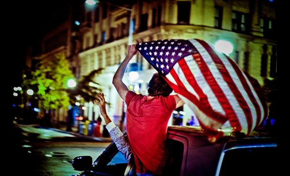 """Election Night"".  When Barack Obama was elected, Gilley took to the streets.  Armed with a Canon 40D and a 50-milimeter 1.4 lens, she headed to 14th and U streets, NW, then followed a crowd south to the White House.  For nearly five hours, Gilley snapped"