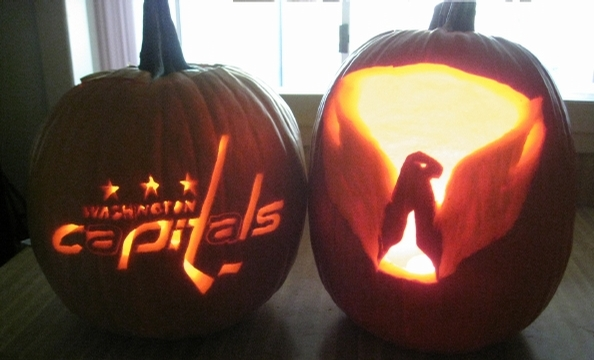 Libby Dufour carved two Washington Capitals-themed pumpkins.