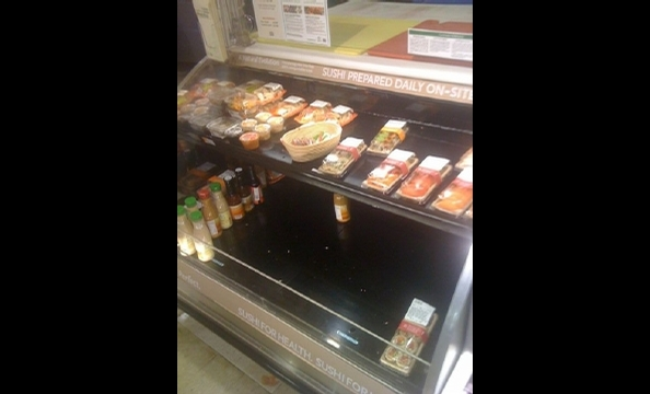 Real panic sets in: They are out of sushi at Whole Foods.