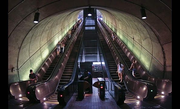 """Rossyln Metro"".  A marketing specialist who moonlights as a wedding and event photographer, Kelley shot this photo with a Canon 30D and a 15-milimeter fisheye lens.  The photo was an example of being at the right place at the right time, Kelley says— he"