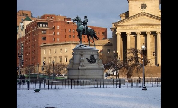 A snow-covered Thomas Circle looks lovely.
