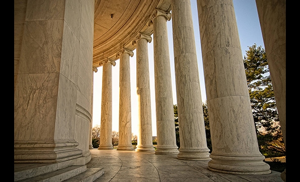 """Dawn's Early Light"" was captured on an early morning photo walk when the photographer wandered away from his group and saw the sun peeking through the columns near one of the Jefferson Memorial's side entrances.  ""We'd been there for two hours, and that"