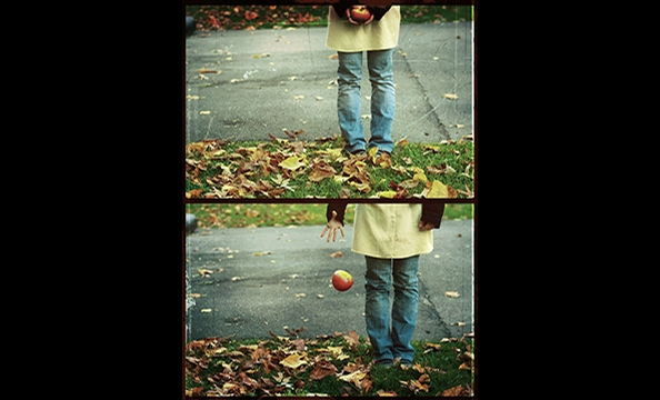 """Apples Away"" is by 16-year-old Elise Benjamin.  Her entry was the first photo series to ever win Washingtonian's photo contest.  The pictures are self-portraits.  Using the timer on her Canon Digital Rebel XTi, Benjamin posed and shot the sequence until"