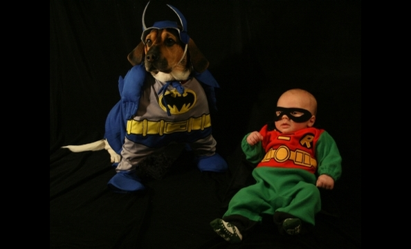 Meet three-year-old Batman, Edgar, a Beagle mix, and his sidekick, nine-week-old Evan Vivari, as Robin.