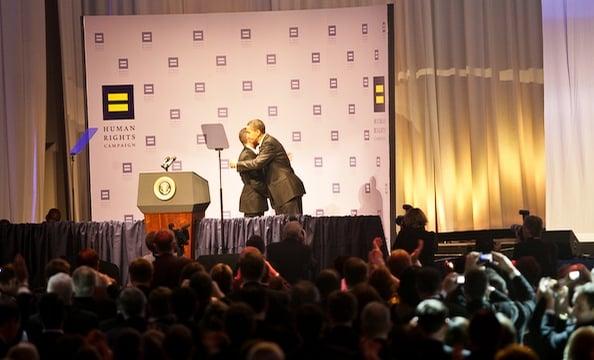 HRC President Joe Solmonese greets President Obama.