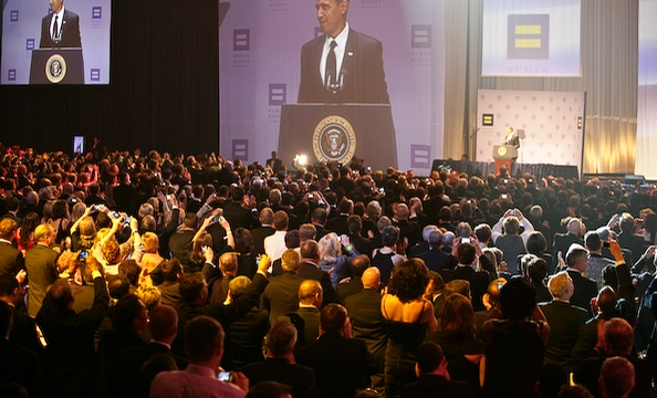 As soon as President Obama took the stage, the crowd broke out their digital cameras and camera phones.