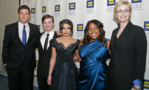 The cast of Fox's Glee Cory Monteith, Chris Colfer, Lea Michele, Amber Riley and Jane Lynch.