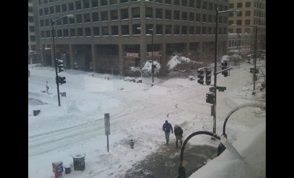 The scene downtown