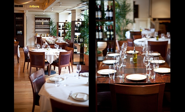 An outpost of New York Greek restaurant Kellari opened last week on DC's K Street. It's in the space that formerly housed Restaurant K. In the dining room, the shiny blond-wood floors are accented with wine barrels, oversize antique urns, and a copper-tri