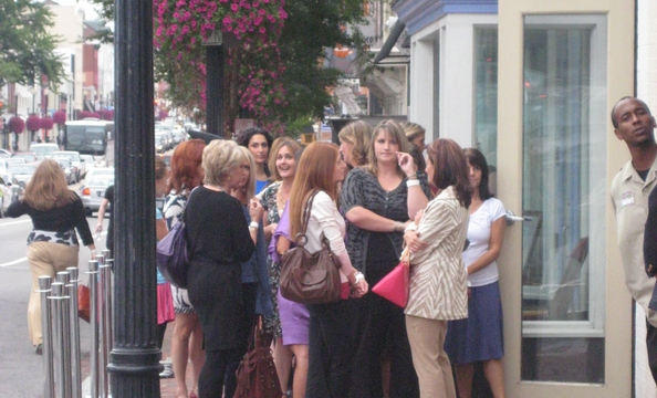Shoppers line up in advance of the District Sample Sale