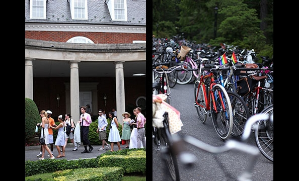 Leaving their bikes behind, riders enter the mansion after a leisurely ride through Rock Creek Park.