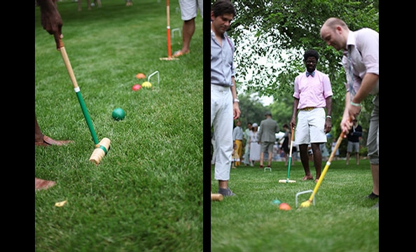 Playing croquet on the Hillwood lawn.