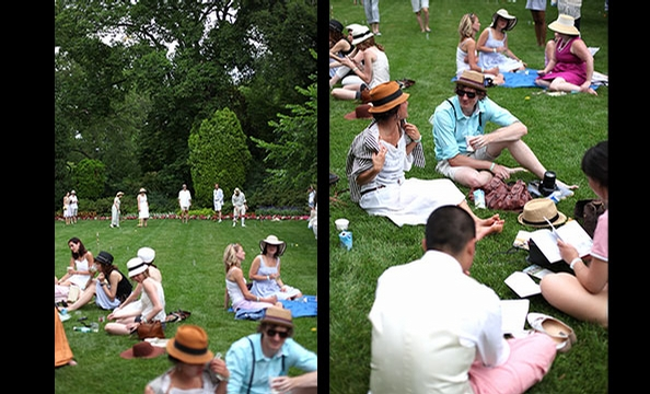 Picnicing on the Hillwood lawn.
