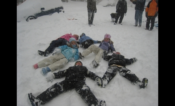 """""""Photos of my kids, Kayla (10) and Logan (8) Ehrlich, and their friends in our neighborhood in Arlington during the December storm."""""""