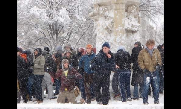 Snowball fighters lined up in Dupont Circle on Saturday, February 6.