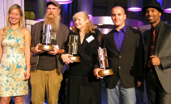 MCs and Winners (from left to right):  Philippa P.B. Hughes, Thomas D. Fesperman (2nd place), Kathryn J. Beale (1st place), Bryan Lawson (3rd place), and Adrian Loving.