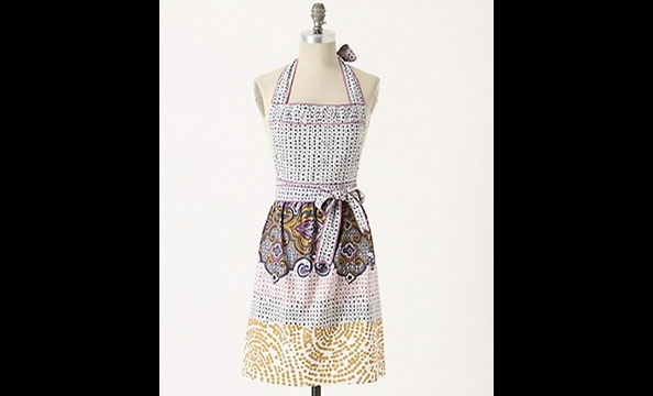 Help the maker of the night's seven from-scratch pies keep her party clothes clean in the kitchen with this speckled mosaic apron.  Anthropologie Daub and Dabble apron,  $32.