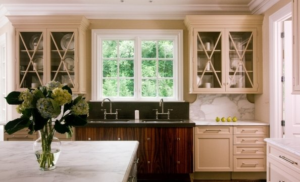 "Fashion icon Coco Chanel inspired this feminine kitchen in McLean's Spring Hill Farm community. ""I wanted it to be as pretty as a dress shop,"" says architect J. Paul Lobkovich of Vienna's Lobkovich Kitchen Designs."