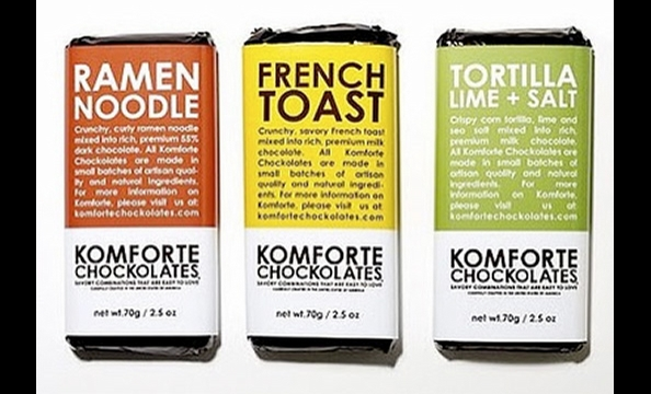 Ramen Noodle chocolate? Sounds too cooky to taste terrible, especially to the adventurous eater.  Komforte Chockolates Bars, $3.49 each.