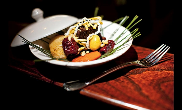 The Korean fusion restaurant DaMoim braises succulent short rib with carrots and chestnuts.