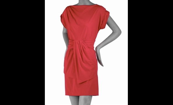 This fall's go-anywhere dress, done in a notice-me cherry red.