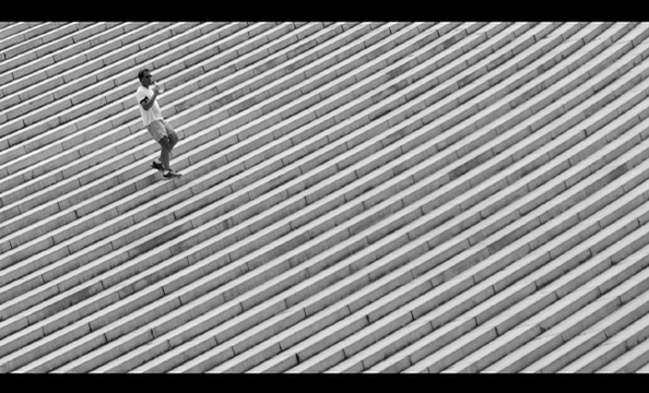 """The photographer calls this photo of a runner on the steps of the Lincoln Memorial """"more of an abstract play on the 'stripes' theme."""""""
