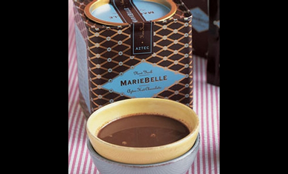 Classic hot chocolate gets a spicy kick, and goes down especially smooth when paired with homemade vanilla marshmallows from Alexandria's Buzz Bakery (703- 600-2899). Maribelle New York Aztec hot chocolate, $25.