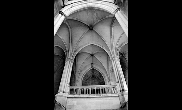 A haunting interior vaulted ceiling.
