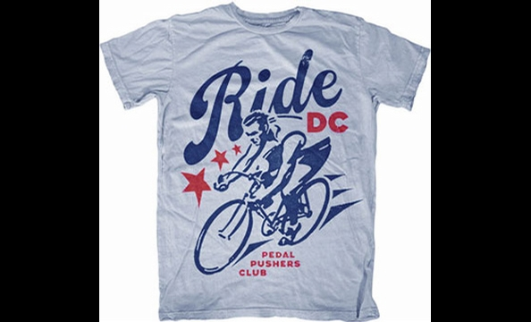 "Want to see Washington become more bike-friendly? Twenty percent of the proceeds from sales of the Pedal Pusher's Club's ""Ride DC"" T-shirt benefits the Washington Area Bicyclists Association. Pedal Pushers Club, $18."