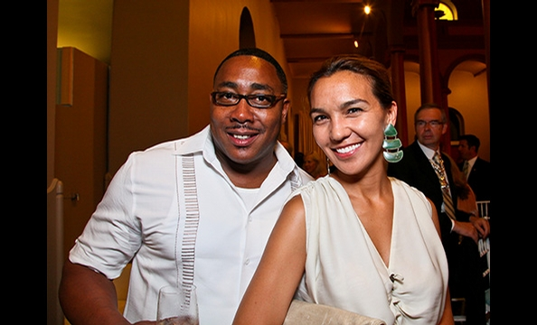Top Chef contestant and local chef Timothy Dean and Washington, DC Deputy Mayor Valerie Santos.