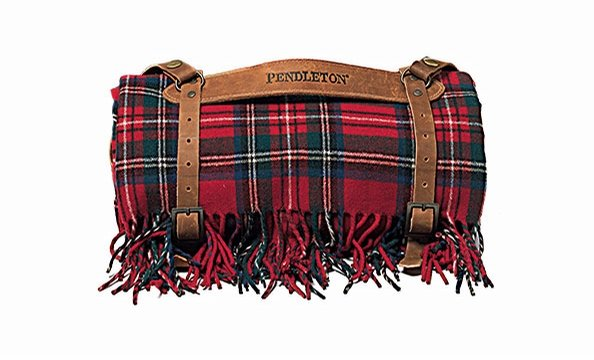 Wrap him with love: Pendleton's wool throw comes with a leather carrier. Bloomingdale's, $99.99.