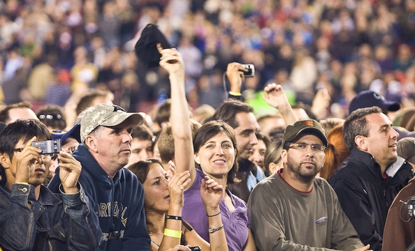 Fans cheer U2 at their Tuesday night show at FedEx Field.