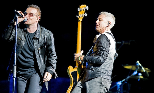 Bono and Adam Clayton on the stage at FedEx Field.