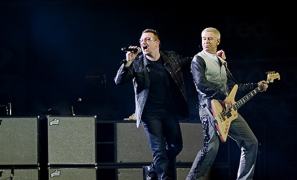 Bono and Clayton onstage at FedEx Field.