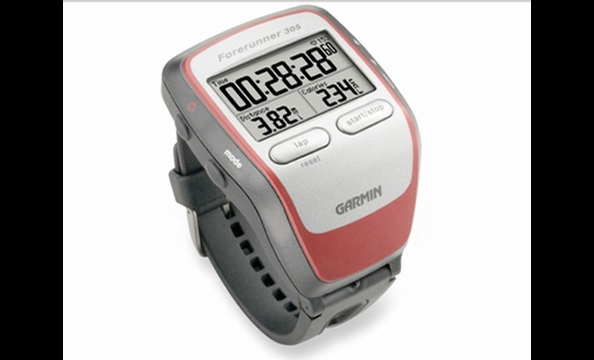 Use the Garmin Forerunner 305 to monitor heart rate, speed, distance, and time during workouts. The watch uses GPS to track distances accurately and can store up to 200 workouts. A chest strap is included to monitor heart rate. Hook the watch up to a comp