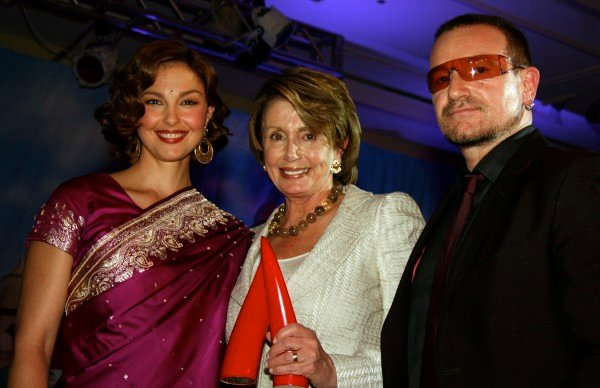 A Night Out: Bono Sports a Tie for Pelosi at YouthAIDS Gala