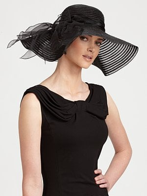 A black hat is anything but basic with sheer fabric and a side bow.