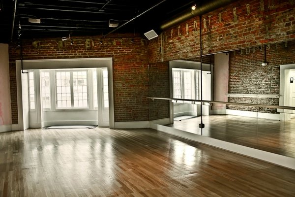 One studio serves as space for owner Emma Saal's barre yoga class.